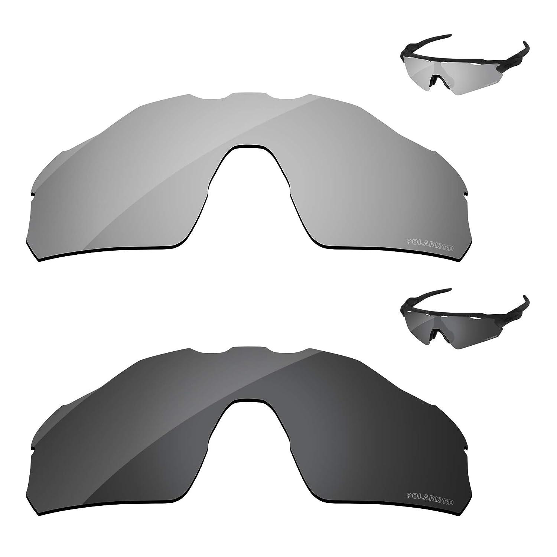 cf6b0246a09 Amazon.com  PapaViva Lenses Replacement for Oakley Radar EV Pitch Black Grey    Chrome Silver  Clothing