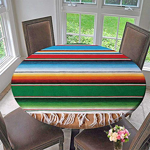 Mikihome Chateau Easy-Care Cloth Tablecloth Boho Serape Blanket with Stripes and Lines Authentic for Home, Party, Wedding 35.5