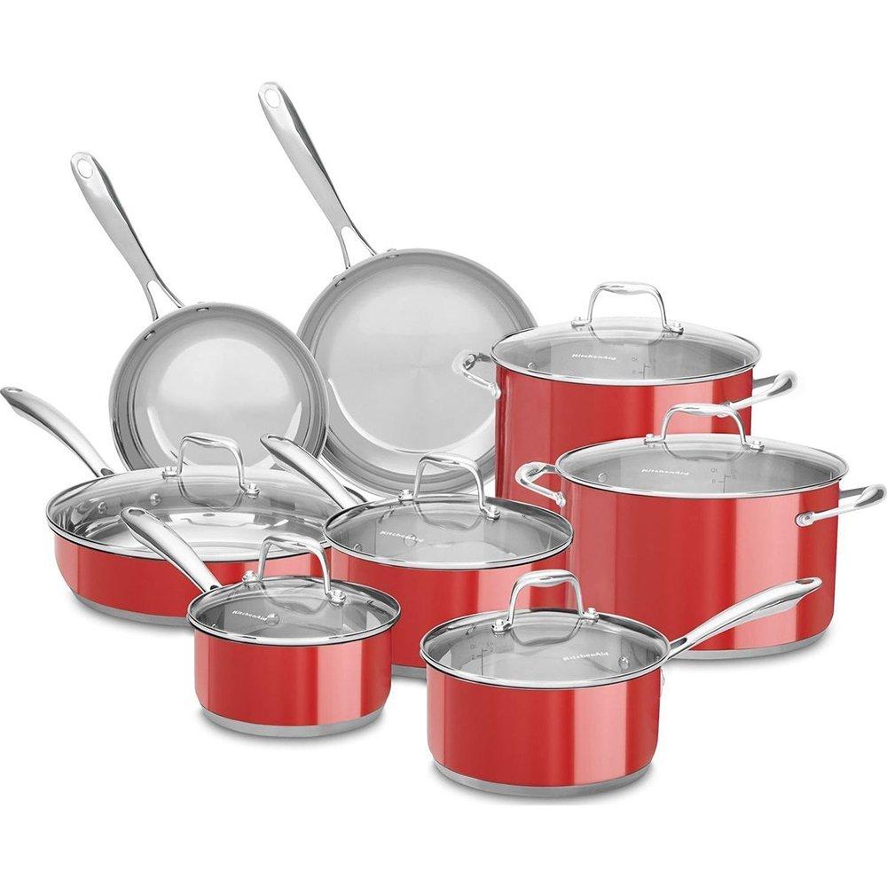 KitchenAid 18 / 10ステンレススチール14-piece調理器具セット、Empire Red B01I8G5UVG