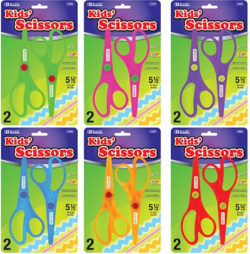 BAZIC 5 1/2'' Fluorescent Safety Scissors (2/Pack) 144 pcs sku# 428630MA