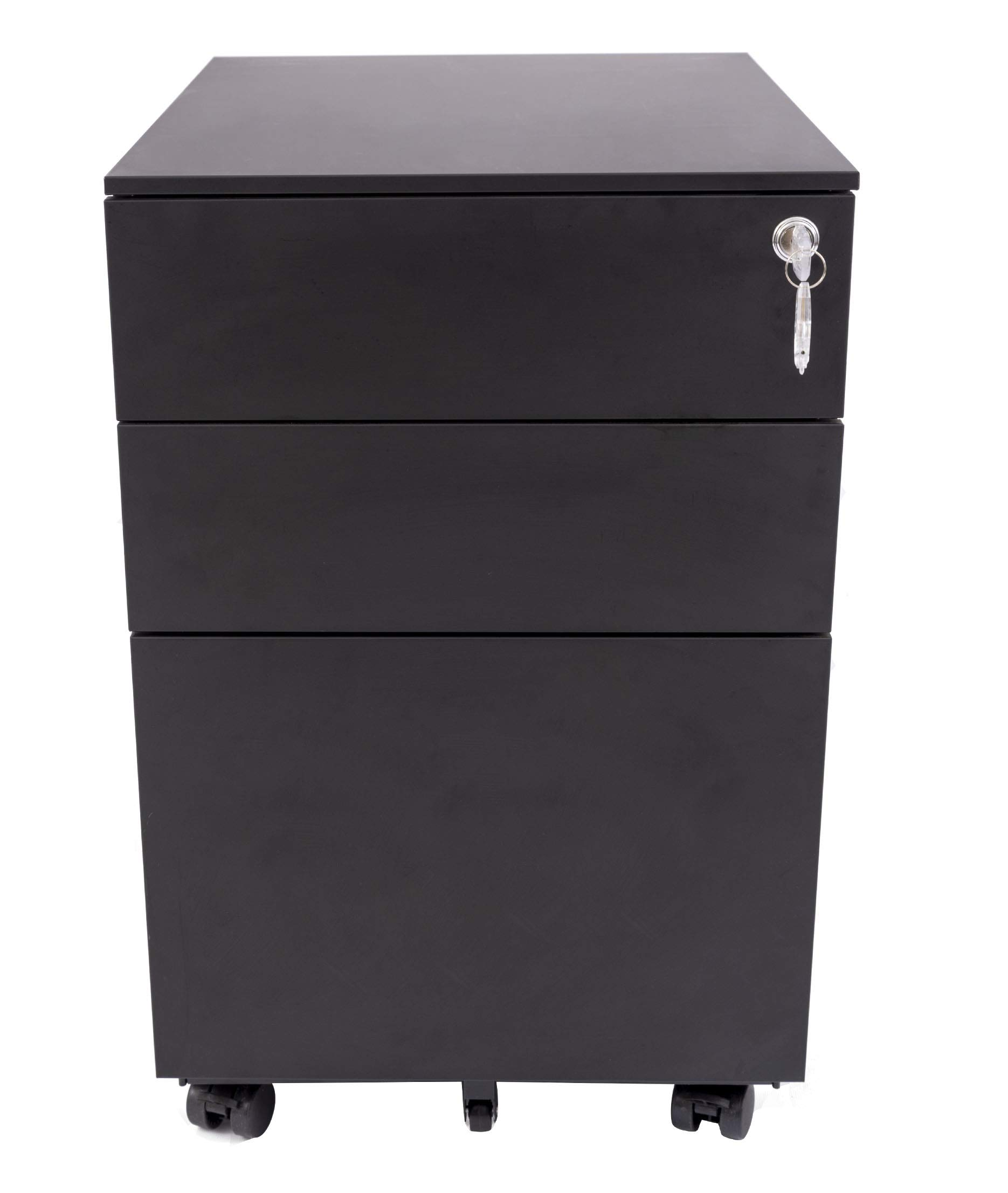 Stand Up Desk Store Wide 3 Drawer File Cabinet/Rolling File Cabinet | 5 Wheel Design Increases Stability and Saves Weight (15.4'' x 20.5'' x 23.6'', Black)