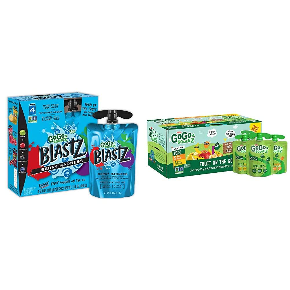 GoGo squeeZ BlastZ Fruit Pouches on the Go, Berry Madness, 3.88 Ounce & Applesauce, Variety Pack (Apple/Banana/Mango), 3.2 Ounce (20 Pouches), Gluten Free, Vegan Friendly, Unsweetened Applesauce