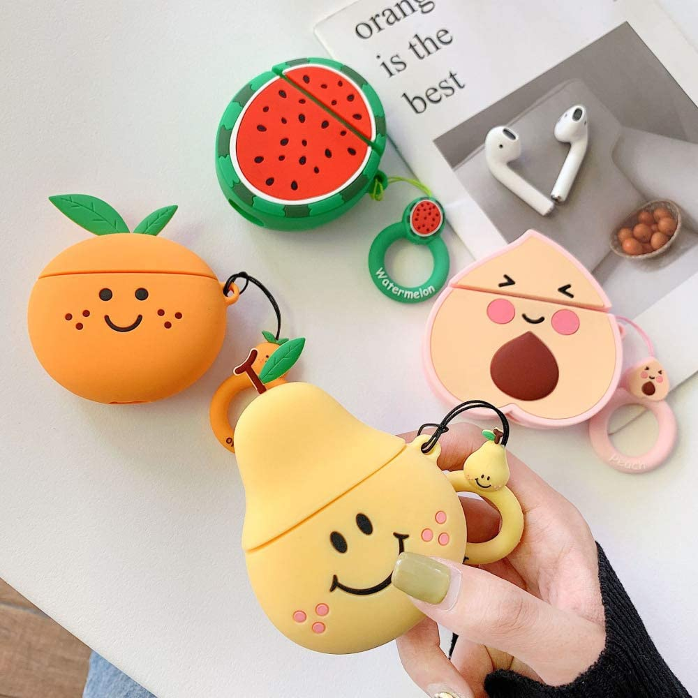 Kids Soft Rubber Silicone Shockproof Drop Protection Protector with Ring Holder Skin Cover for Airpods 1//2 Suhctuptx Compatible for Airpods 1//Airpods 2 Case Cover Cute Design for Girls Peach
