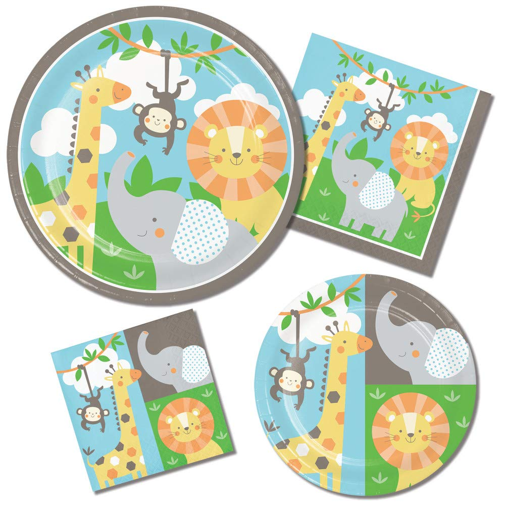 Jungle Animals Paper Plates and Napkins Set - 64 Total Pieces (Service for 16 People) Featuring Elephants Lions Monkeys and Giraffes - Great Value by RLP Marketing LLC
