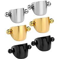 Zysta 2-6pcs 16G Stainless Steel Horseshoe Shield Cuff Ear Helix Cartilage Cuff Ring Earrings Mens Womens Body Jewelry…