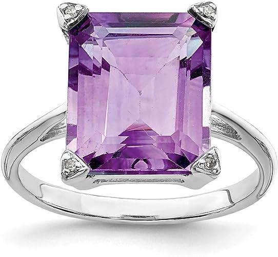 925 Sterling Silver Diamond Purple Amethyst Band Ring Gemstone Fine Jewelry For Women Gift Set