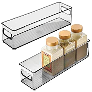mDesign Slim Plastic Stackable Food Storage Container Bin, Handles for Kitchen, Pantry, Cabinet, Fridge, Freezer - Long Narrow Organizer Holds Snacks, Produce, Vegetables, Pasta - 2 Pack - Smoke Gray