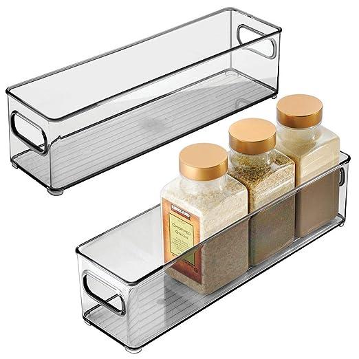 mDesign Juego de 2 cajas organizadoras con asas - Práctico ...