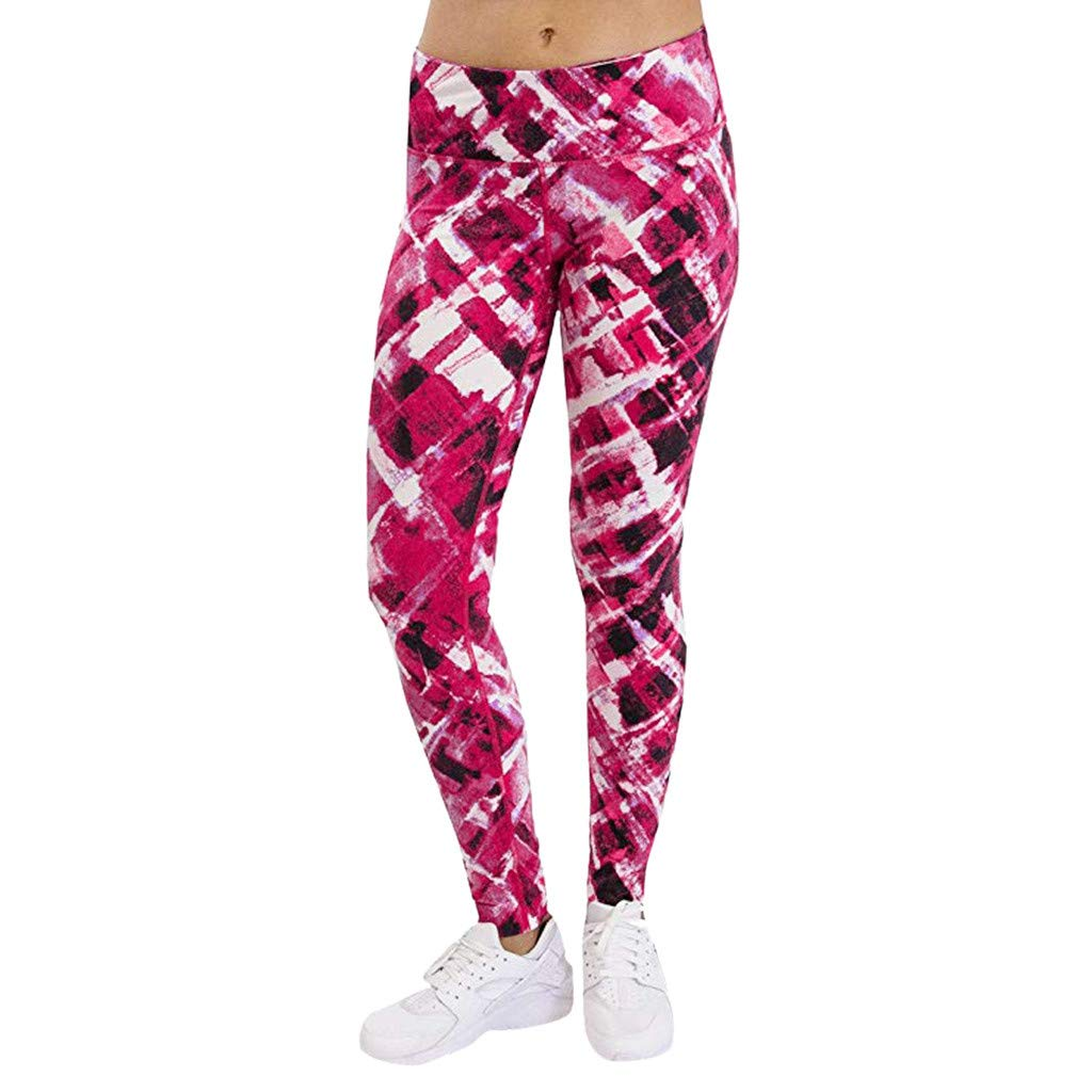 Workout Sports Pants Elastic Waist Skinny Yoga Trousers VEZAD Womens Printed Casual Leggings