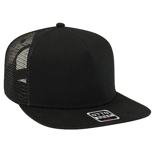 95941448d OTTO Square Flat Visor SNAP 5 Panel Mesh Back Trucker Snapback Hat
