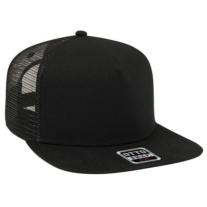 505f415c06a91b OTTO Square Flat Visor SNAP 5 Panel Mesh Back Trucker Snapback Hat - Black  at Amazon Men's Clothing store: