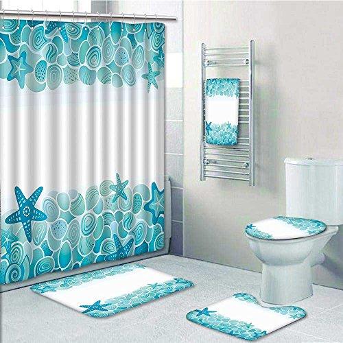 VROSELV Designer Bath Polyester 5 Piece Bathroom Set, Sea Shells Stars  Under Sea Tuquoise