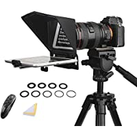 Desview T2 Portable Teleprompter Kit with 9 Lens Adapter Rings, Remote&APP Control, for Smartphones/Tablet/DSLR Camera…