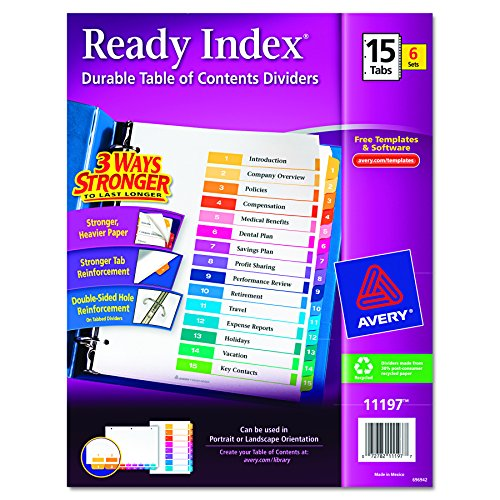New Avery Ready Index Table of Contents Dividers, 15-Tab Set, 6 Sets (11197) free shipping