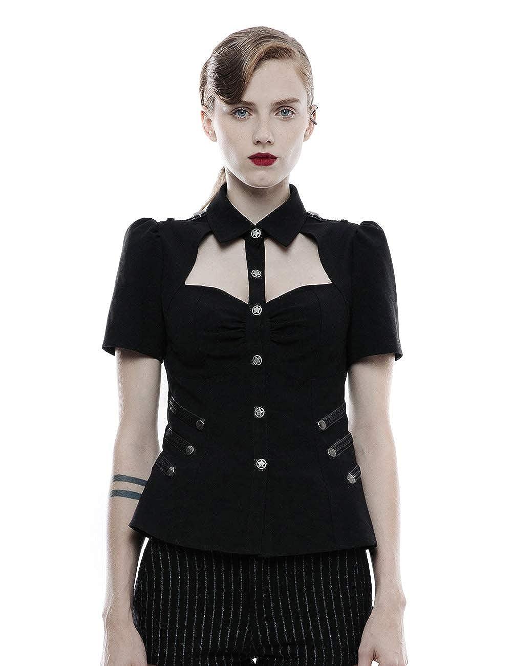 Black Punk Rave Women's Steampunk Military Uniform Short Sleeve Shirt Casual Blouse