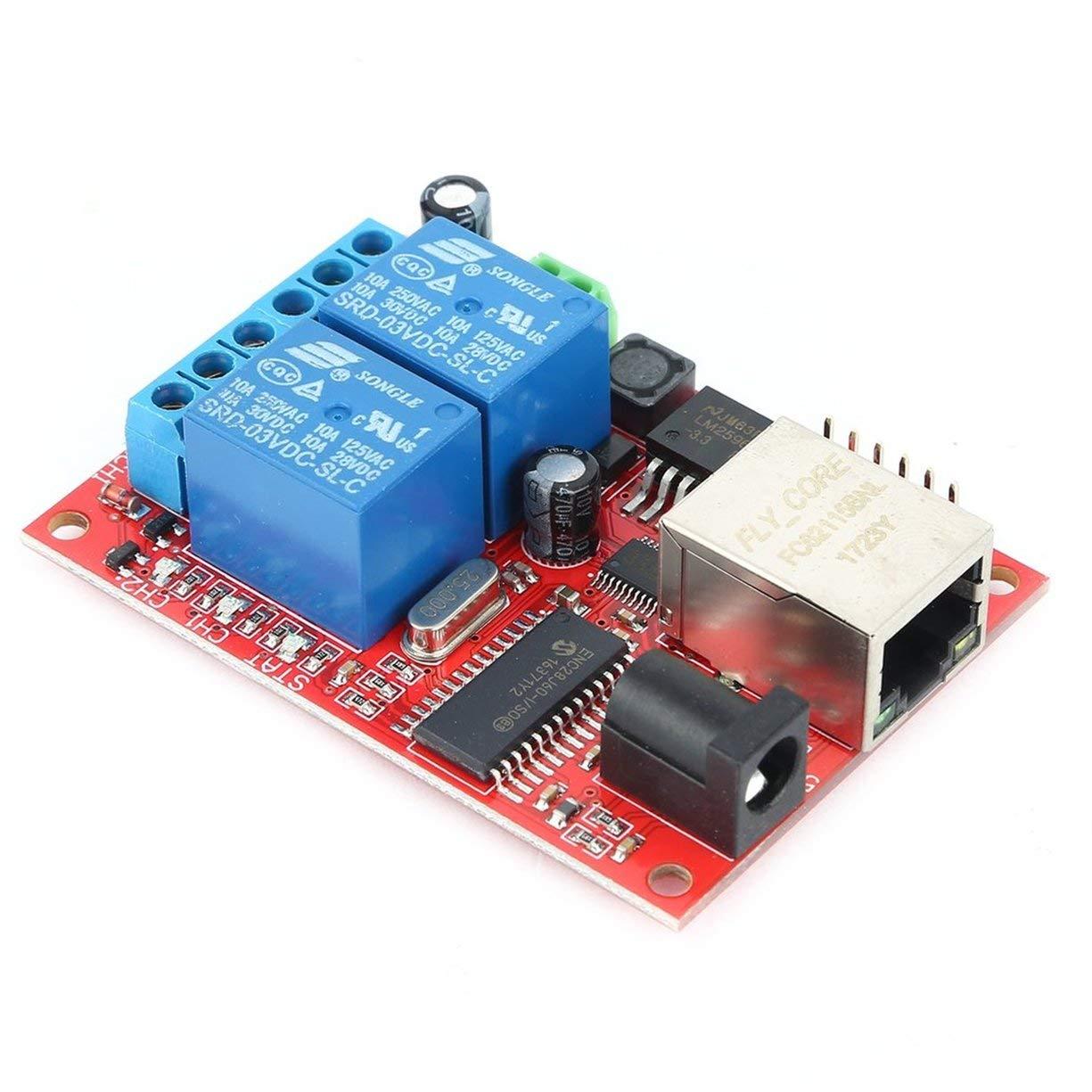 LAN Ethernet 2-way Delay Time Switch Scheda relè Modulo TCP / UDP, LAN Ethernet 2 vie Relay Board Switch Switch TCP / UDP Modulo WEB Server Kit elettronico Circuit Board Detectoy