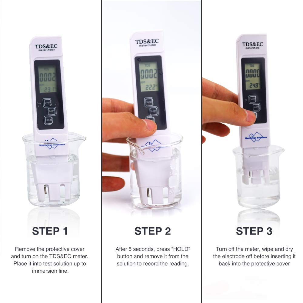 Digital Water Meter, Membrane Solutions TDS Water Quality Tester, EC Meter  & Temperature Meter 3 in 1 test pen, for Drinking Water, Aquariums, pool