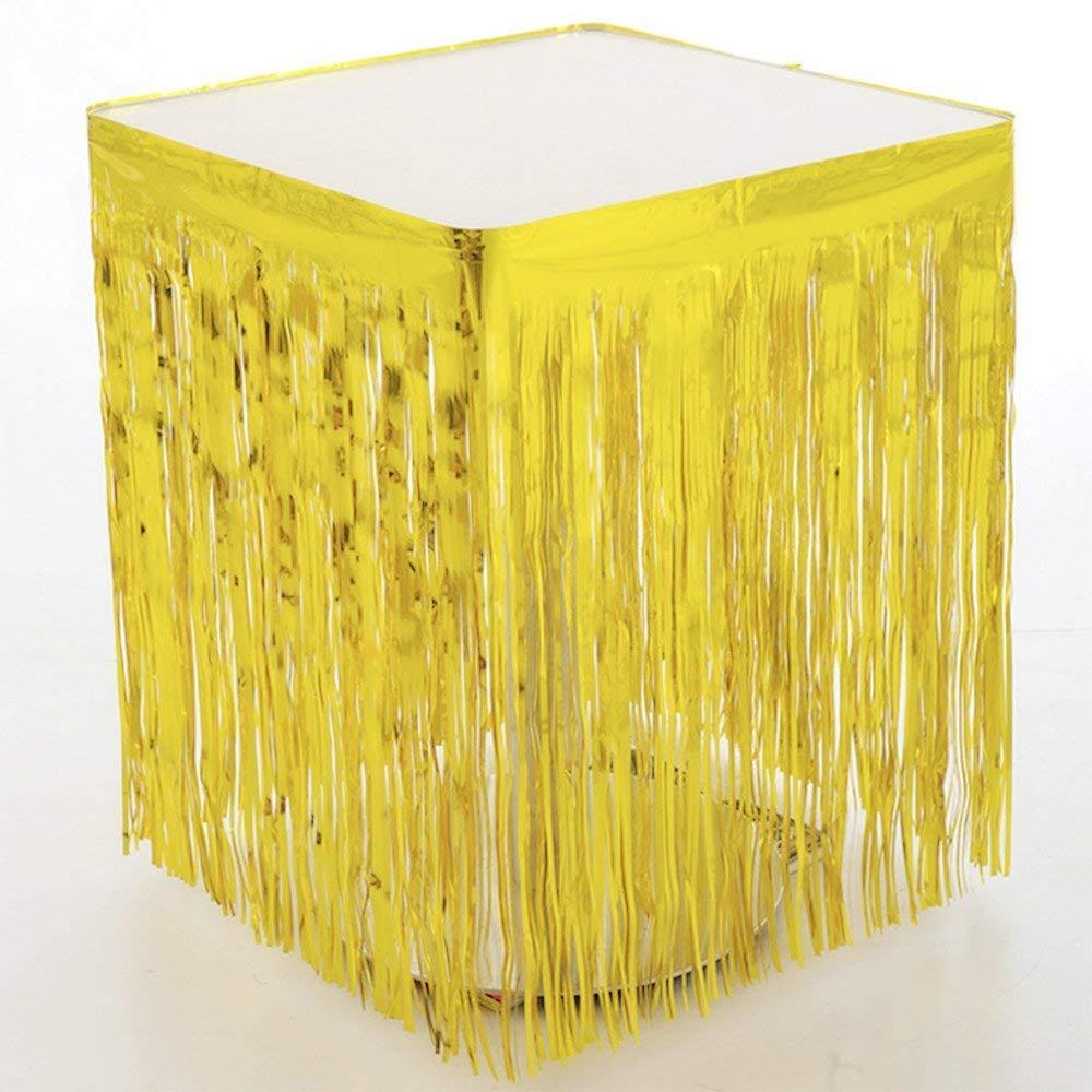 ShinyBeauty 29x108-Inch-Foil Fringe Table Skirt,Tinsel Table Skirt,Metallic Party Table Skirt (Pack of 10, Gold) by ShinyBeauty (Image #1)