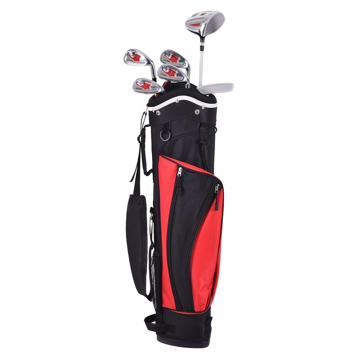 6ピースレッドゴルフセットパター木製Iron Clubスタンドバッグキッズ   B071VJDP9B