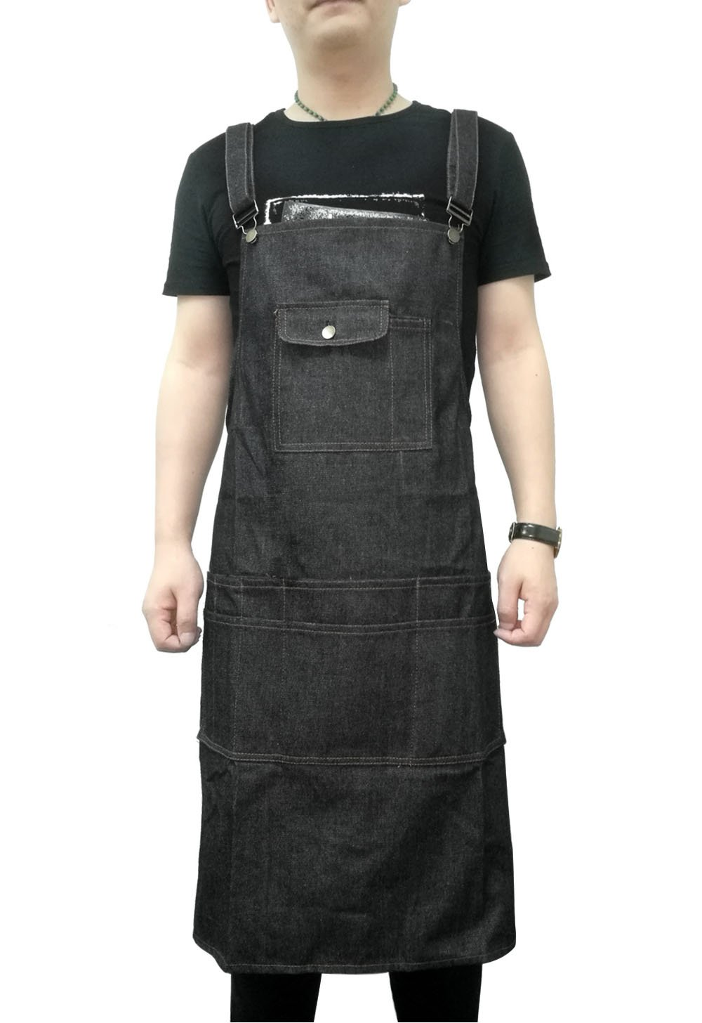 Aivtalk Denim Apron with Tool Pockets for Men Women Kitchen Cooking Grilling Craftsmen Adjustable Straps up to XXL Black