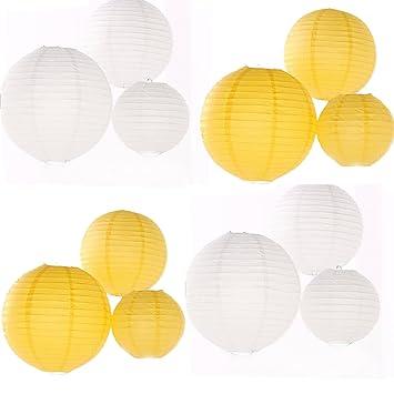 24 unidades varios tamaños blanco y amarillo linterna de ...