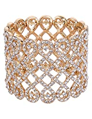 Ever Faith Gold-Tone Austrian Cystral Art Deco Love Knot Wide Stretch Bridal Bracelet Clear N04428-2