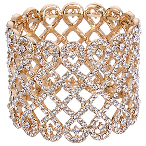 EVER FAITH Art Deco Love Knot Wide Stretch Bridal Bracelet Clear Austrian Crystal Gold-Tone