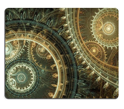 Liili Natural Rubber Mouse Pad Fantasy steampunk design abstract mechanical background made of fractal cogwheels IMAGE ID 35173265