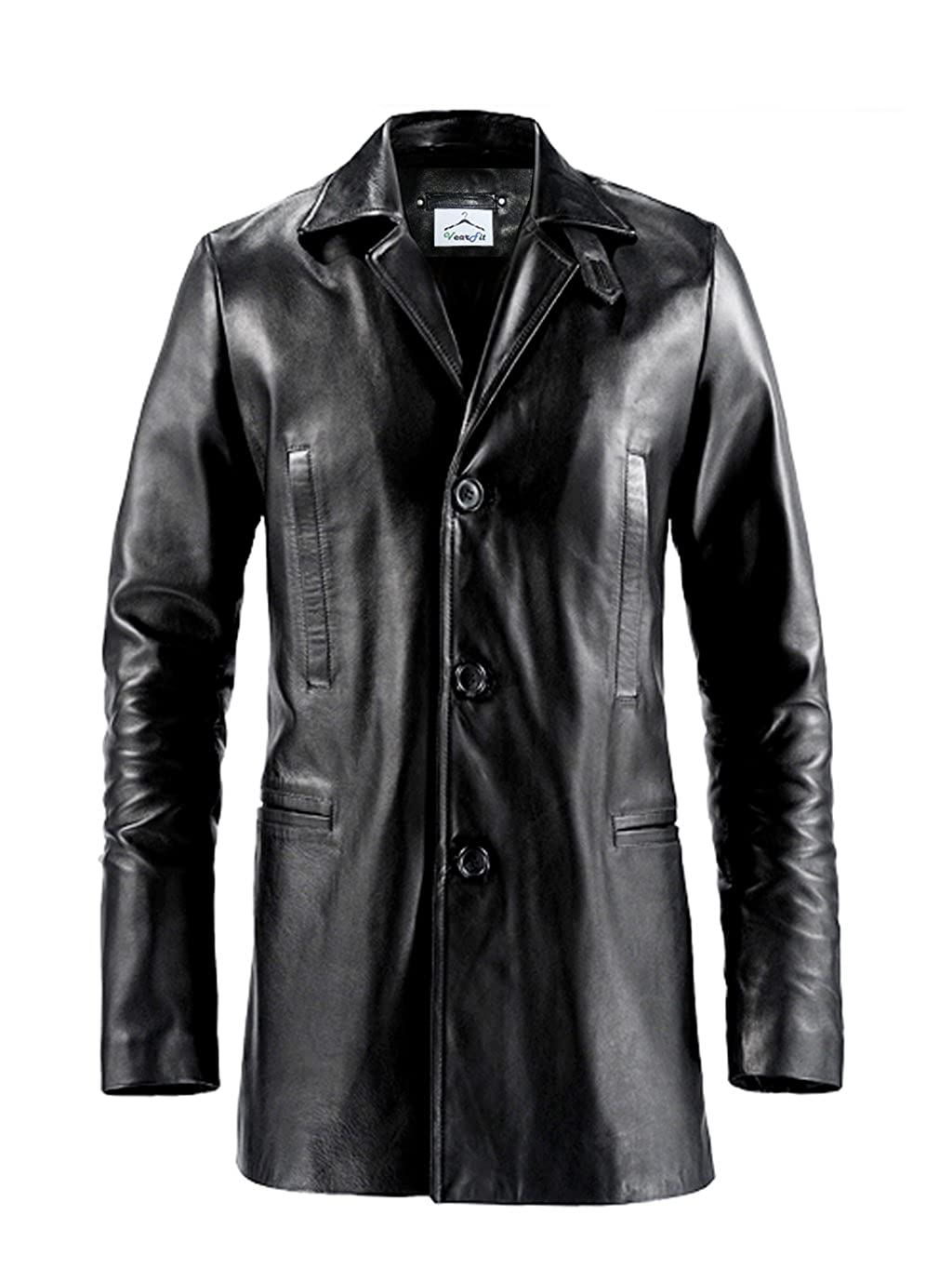 VearFit Max Payne Mark Wahlberg 3-button Real Leather Trench Coat Blazar for Men HF16-M16