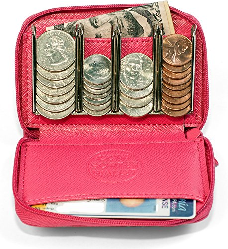Leatherette Zipper Wallet - Women's Change Purse Organizer - Coin Pouch for Woman (Pink)