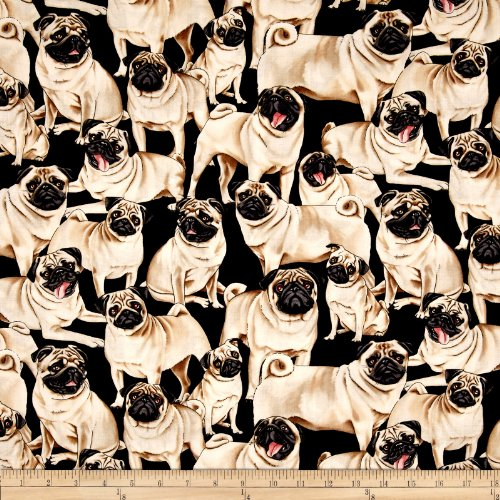 Timeless Treasures 0330076 s Multi Fabric by The Yard, Pug ()