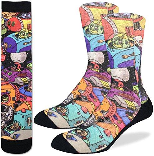 Good-Luck-Sock-Mens-Space-Jam-Crew-Socks-Black-Adult-Shoe-Size-8-13