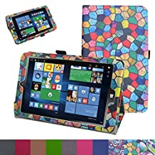 """Insignia NS-P08W7100 Case,Mama Mouth PU Leather Folio 2-folding Stand Cover with Stylus Holder for 8"""" Insignia Flex NS-P08W7100 Windows 10 Tablet 2016,Stained Glass"""