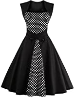 Honwenle Women's Square Neck Polka Dot Retro Vintage Style Cocktail Party Swing Dress