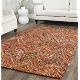 Safavieh Nantucket Collection NAN141B Handmade Blue and Multi Cotton Area Rug, 5 feet by 8 feet (5' x 8')