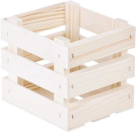 Caja de madera, 14 x 12 x 12 cm, 2 listones, 1,3 litros, para fruta: Amazon.es: Hogar