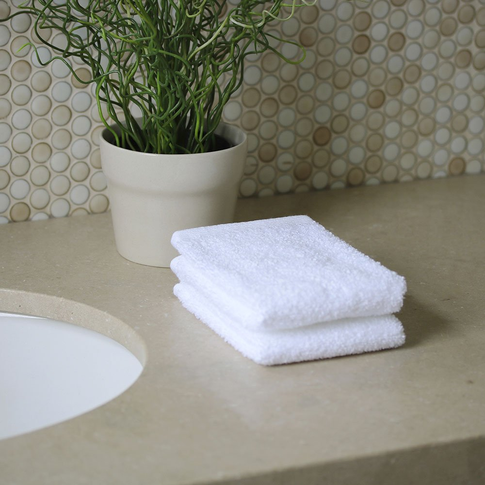 1888 Mills Bath Linens for Home, Office, and Gifts  Hotel Collection 100%  USA Made Organic Cotton 2-Piece Wash Cloth Set - White - 13