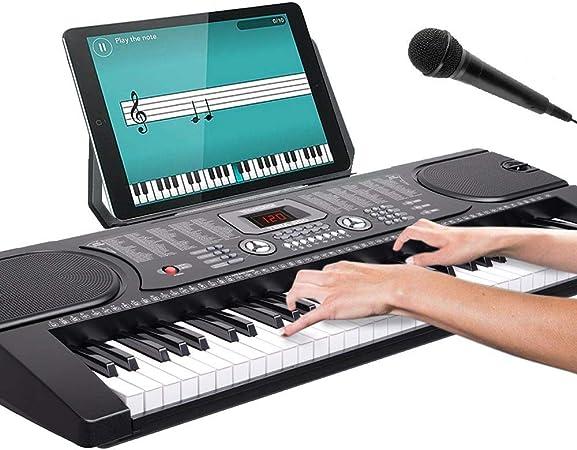 Bakaji - Teclado musical plano electrónico, 61 teclas, piano multifunción con 255 ritmos, 24 canciones, preestablecido, función de percepción, entrada ...