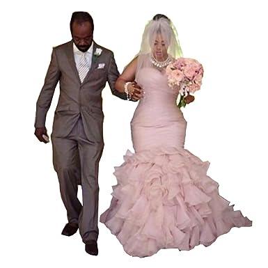 Chady Blush Pink Plus Size Wedding Dress Mermaid 2017 Organza