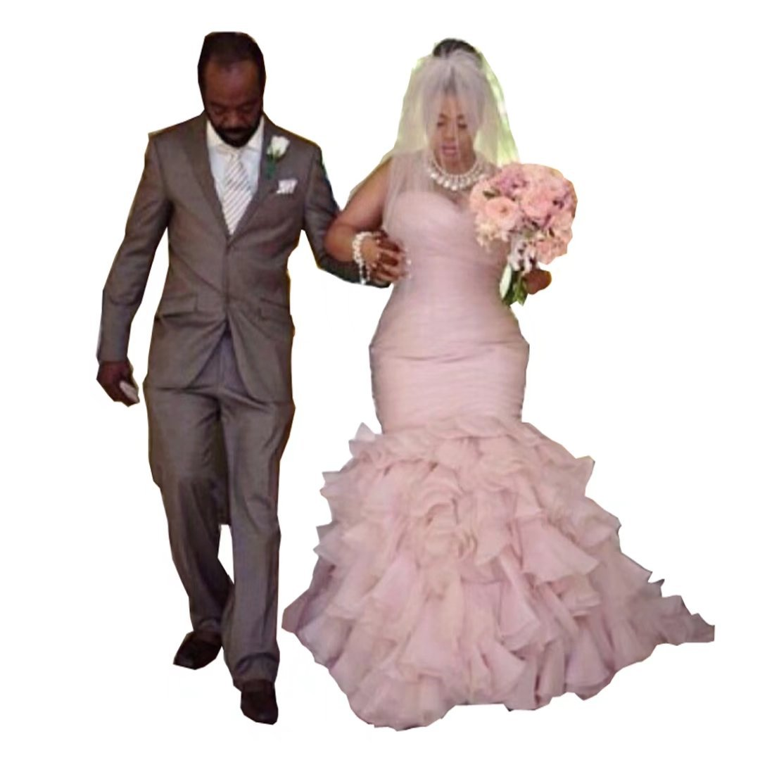 Chady Blush Pink Plus Size Wedding Dress Mermaid 2017 Organza Cascading  Ruffle Tiers Bridal Dresses Sweetheart Gowns