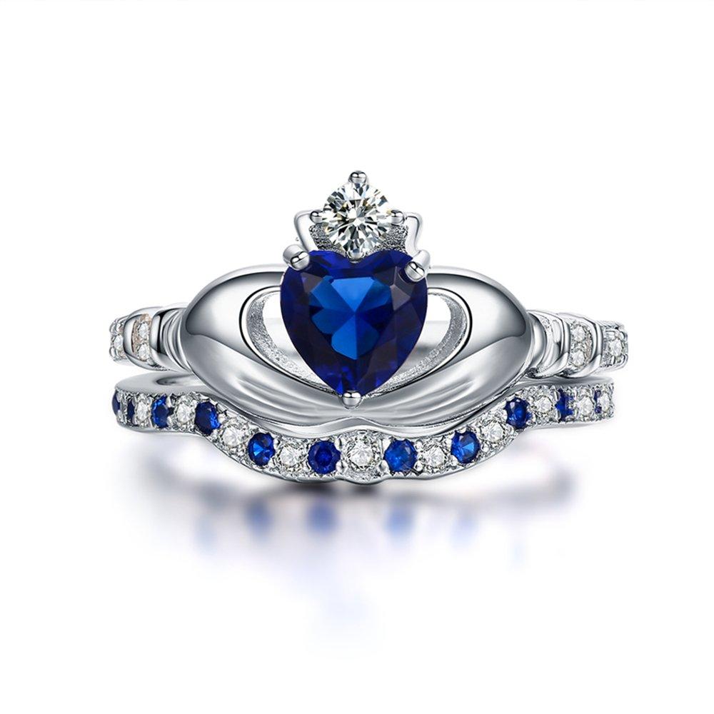 ZULISY Rings Women Engagement Wedding Fashion Charming Elegant Elegant Unique Vintage Classic Luxurious Accessories 925 Sterling Silver CZ Blue Crown Sapphire Bridal Sets Size 6 7 8 (Size 6)