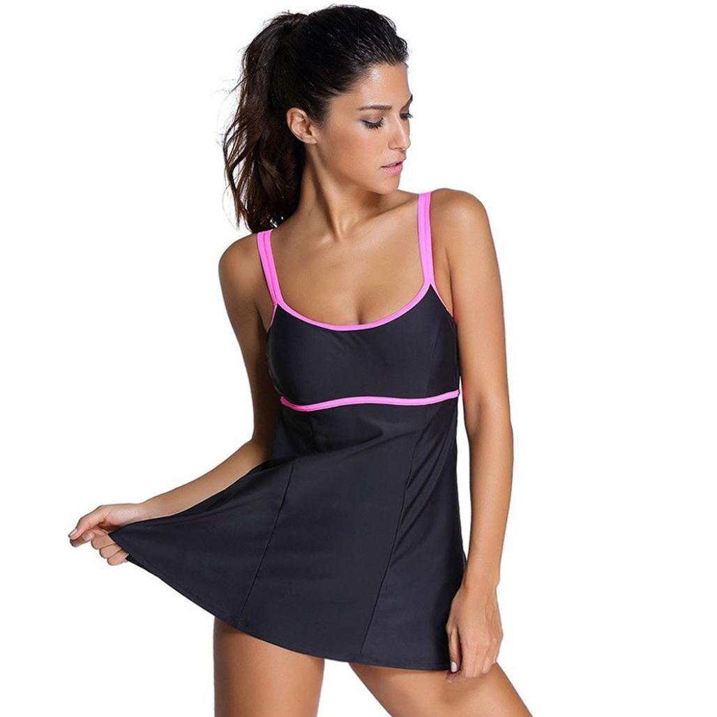 PENATE Women Plus Size Tankini Swimwear One Piece Fashion Bikini Padded Swimsuit (Black, XL)