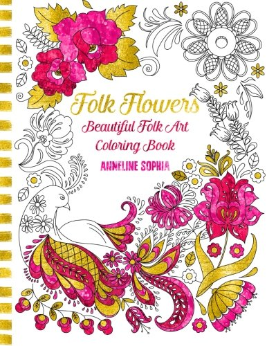 Folk Flowers Beautiful Coloring Book product image