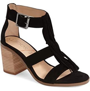 1787eae9141c Sole Society Women s Delilah Suede Fringe Block Heel Sandals