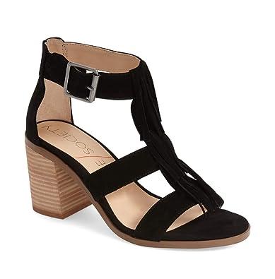 2b0d8232d1a Sole Society Women s Delilah Suede Fringe Block Heel Sandals-Black-11