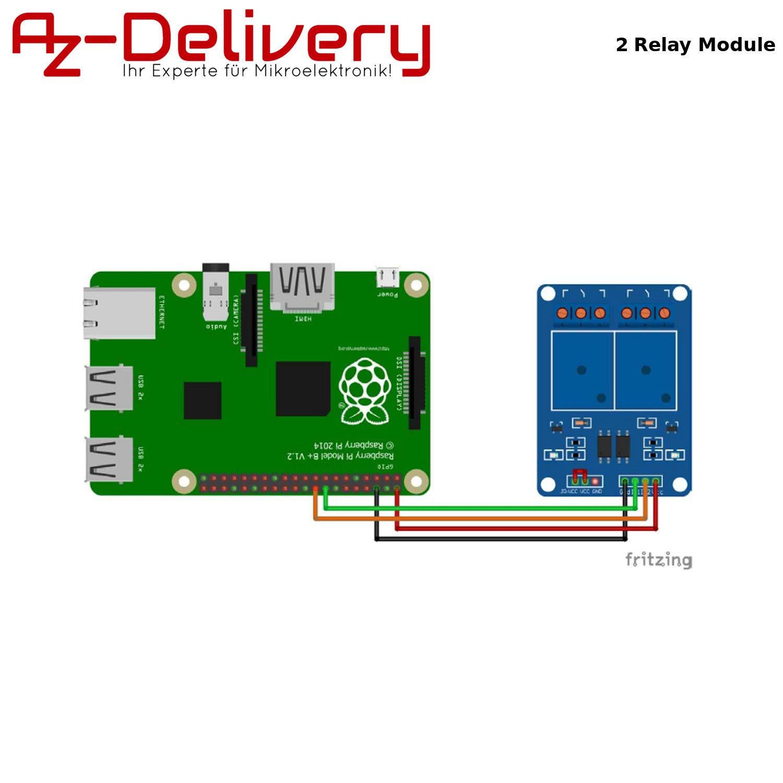 AZDelivery 2-Relais Module 5 V avec Optokoppler pour Arduino y compris un eBook