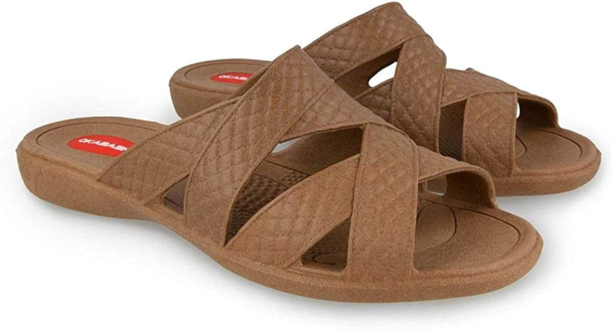 Okabashi Cross Strap Sandals for Women~Toffee~Choose Size