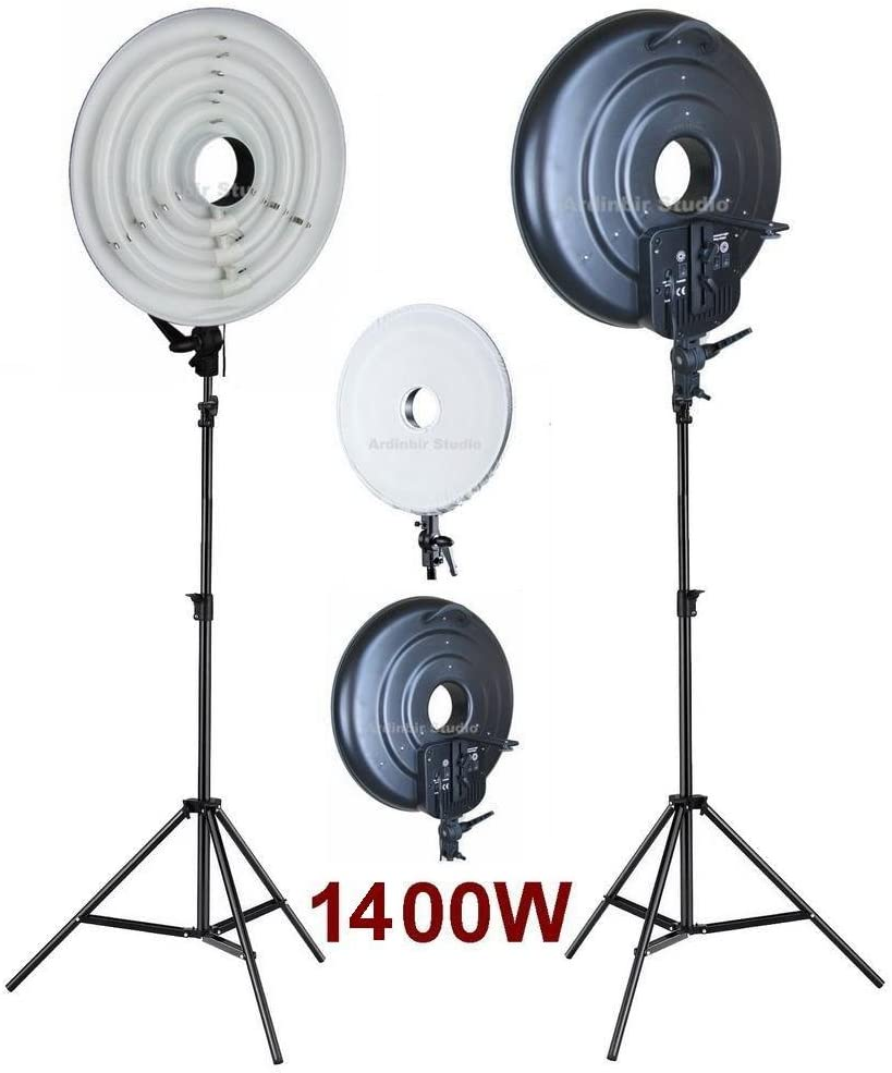 Ardinbir Studio Photo 1400W 5400K Daylight Continuous Cool Fluorescent Video Macro Ring Light Stand Lamp Kit Lighting with White Diffuser