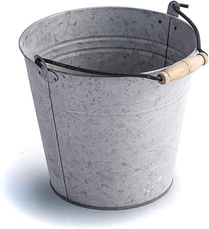 Antikas - Cubo Decorativo Chapa de Metal galvanizado - Cubo de Ceniza - Cubo de Agua jardín: Amazon.es: Hogar