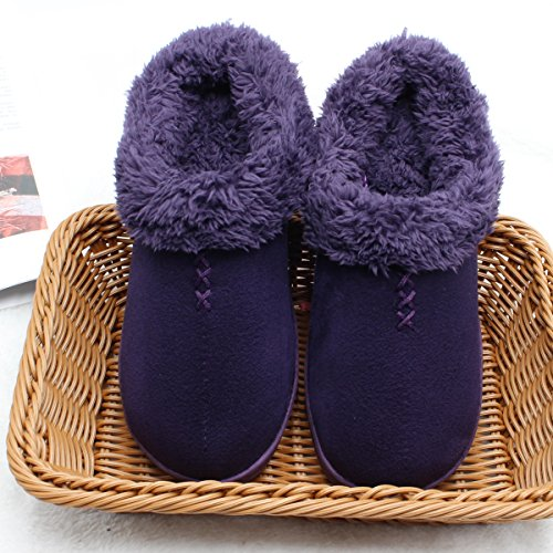 Bottom Purple with Hard Women Soles Ofoot Outdoor Foam Slippers Memory Slippers Warm for Clog Back Women's Rubber Indoor xz1RT